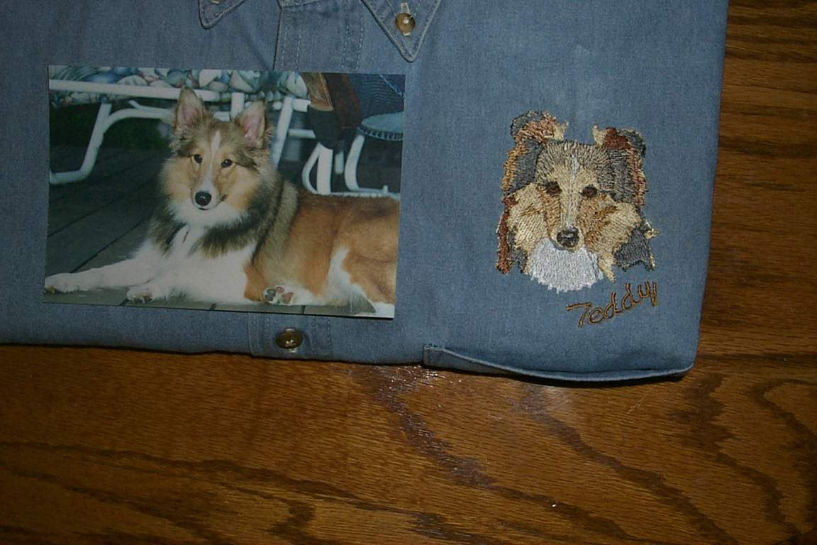 Picture of shelty and embroidery on jean shirt